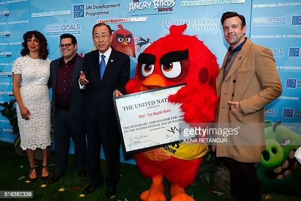 United Nations SecretaryGeneral Ban Kimoon designates Angry Bird Red as Honorary Ambassador for Green next to Jason Sudeikis Josh Gad and Maya...