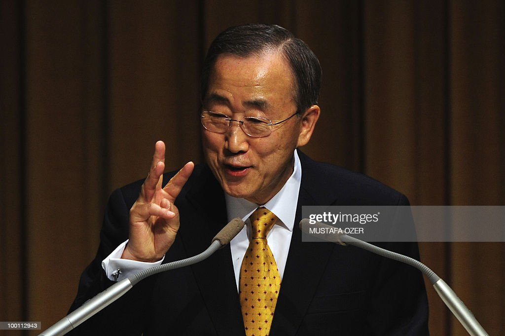 United Nations Secretary-General Ban Ki-Moon gives a conference at Bogazici University in Istanbul on May 21, 2010