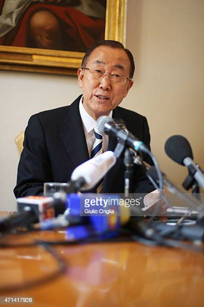 United Nations SecretaryGeneral Ban Kimoon holds a press conference at the end of the workshop themed 'Protect the Earth Dignify Humanity' at the...