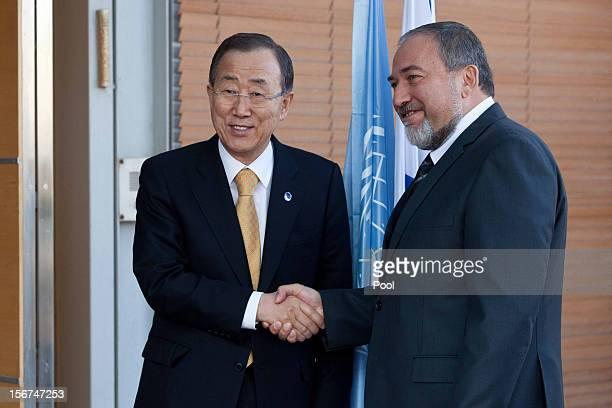 United Nations Secretary-General Ban Ki-moon meets Israel's Minister of Foreign Affairs Avigdor Lieberman on November 20, 2012 in Jerusalem, Israel....