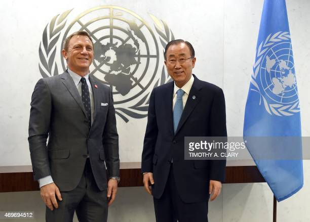 United Nations Secretary-General Ban Ki-moon meets with actor Daniel Craig who was named as the first UN Global Advocate for the Elimination of Mines...