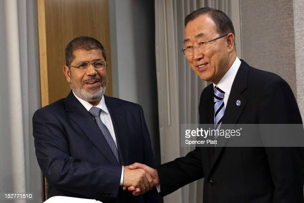 United Nations Secretary-General Ban Ki-moon meets with Egyptian President Mohamed Mursi at the United Nations during a meeting at the General...