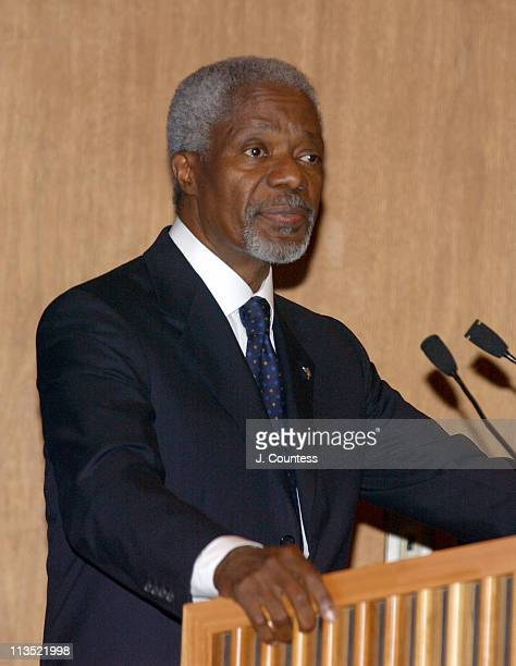 """United Nations Secretary-General Kofi Annan addresses the audience at the screening of the RCN Entertainment Documentary """"What's Going On"""""""