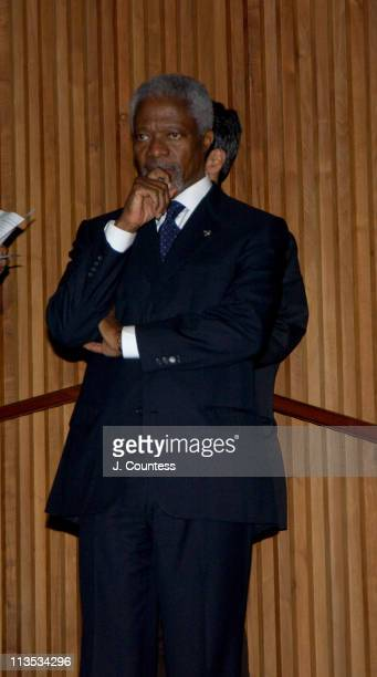 United Nations SecretaryGeneral Kofi Annan during RCN Entertainment and the Untied Nations Screening of 'Whats Going On' to celebrate the 50th...