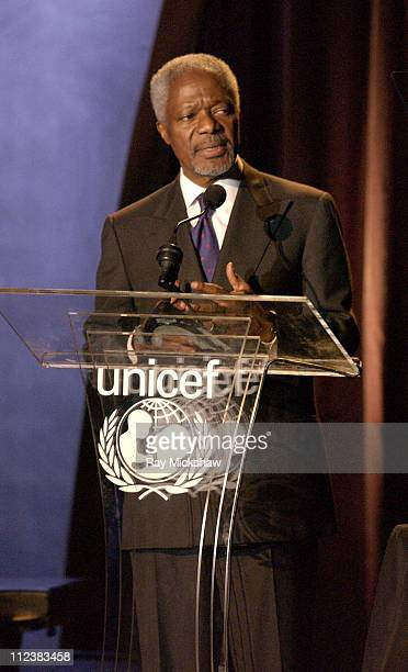United Nations SecretaryGeneral Kofi Annan during UNICEF Goodwill Gala Celebrating 50 Years of Celebrity Goodwill Ambassadors Show at The Beverly...