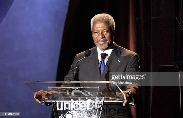 United Nations SecretaryGeneral Kofi Annan during UNICEF Goodwill Gala Celebrating 50 Years of Celebrity Goodwill Ambassadors Show at The Beverly...