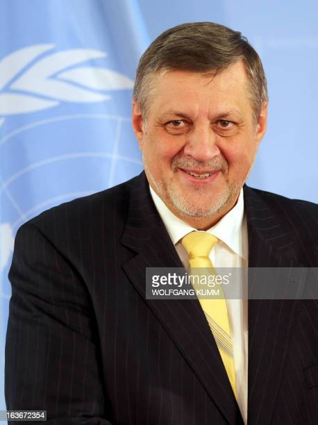 United Nations SecretaryGeneral's Special representative for Afghanistan Jan Kubis arrives at the Foreign Office in Berlin Germany for talks with the...