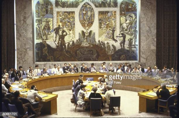 United Nations Security Council holding peace negotiations to resolve the Iran-Iraq war.