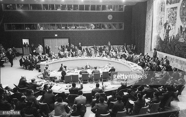 United Nations Security Council members vote on and unanimously approve a resolution calling on Israel to 'facilitate the return' of Arab civilians...