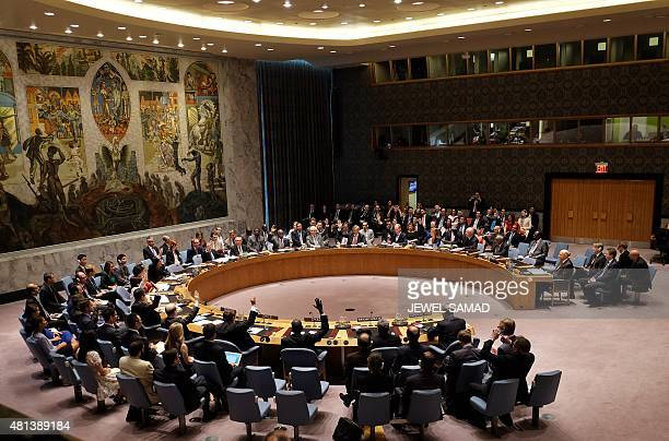 United Nations Security Council members vote on the Iran resolution at the UN headquarters in New York on July 20 2015 The UN Security Council on...