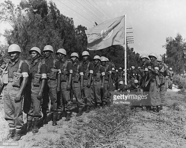 A United Nations Security Force prepares to take over positions in Port Said during the Suez Crisis 3rd December 1956 Asian paratroopers line up in...