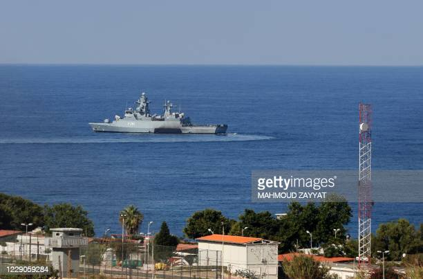 United Nations ship is pictured in the southernmost area of Naqura, by the border with Israel, on October 14, 2020. - Lebanon and Israel, still...