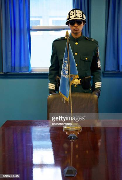 United Nations Soldier and flag DMZ zone on the border