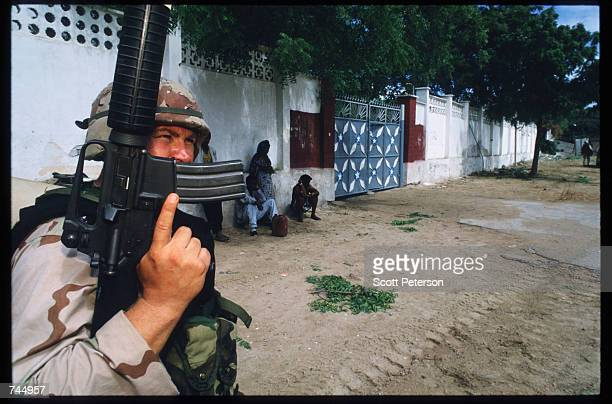 United Nations soldier poses June 6 1993 in Mogadishu Somalia UN troops seized the residence of General Mohammad Aidid a warlord responsible for...