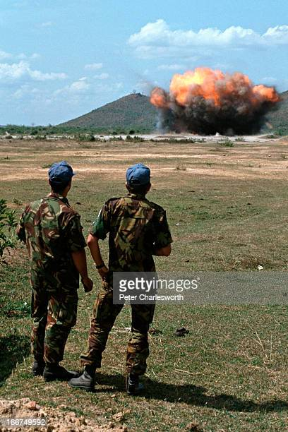 United Nations soldiers from New Zealand, part of an advance party sent to Cambodia prior to the main arrival of the UNTAC blow up mines in an area...
