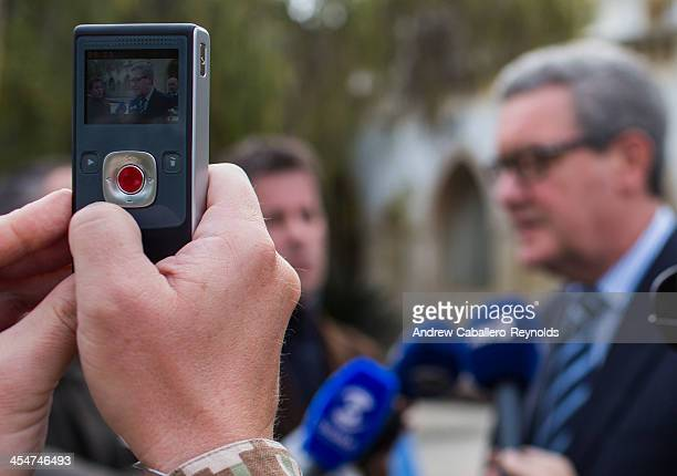 United Nations Special Adviser to the SecretaryGeneral on Cyprus Alexander Downer is filmed as he gives a press statement at the Presidential Palace...