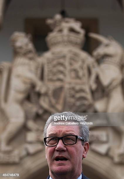 United Nations Special Adviser to the SecretaryGeneral on Cyprus Alexander Downer speaks during a press statement at the Presidential Palace on...
