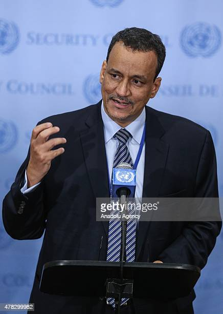 United Nations Special Envoy for Yemen Ismail Ould Cheikh Ahmed holds a press conference on June 24 2015 at the UN headquarters in New York