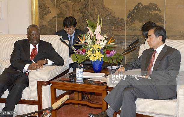 United Nations special envoy to Myanmar Ibrahim Gambari meets with Vice Foreign Minister of China Wang Yi at the foreign ministry October 25 2007 in...