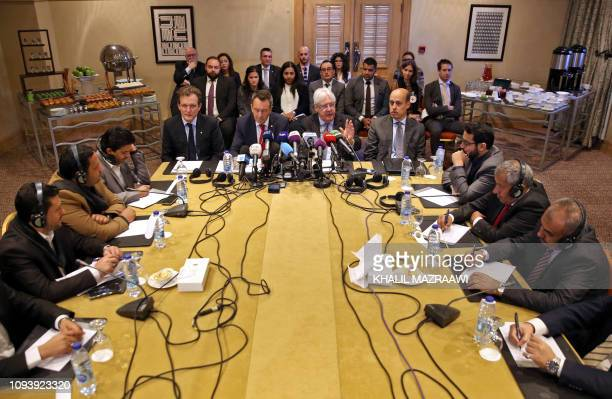 United Nations Special Envoy to Yemen Martin Griffiths and International Committee of the Red Cross President Peter Maurer attend a new round of...