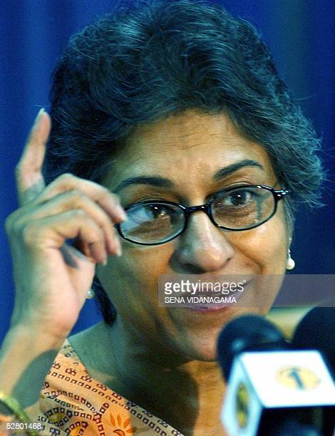 United Nations Special Rapporteur on Freedom of Religion and Belief Asma Jahangir gestures as she addresses media representatives in Colombo12 May...