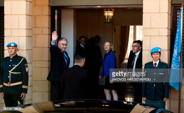United Nations Special Representative and Head of the United Nations Peacekeeping Force in Cyprus Elizabeth Spehar greets Turkish Cypriot leader...