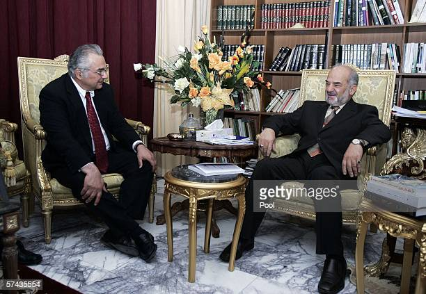United Nations Special Representative to the Secretary General Ashraf Qazi meets with outgoing Iraqi Prime Minister Ibrahim Jaafari April 26 2006 in...