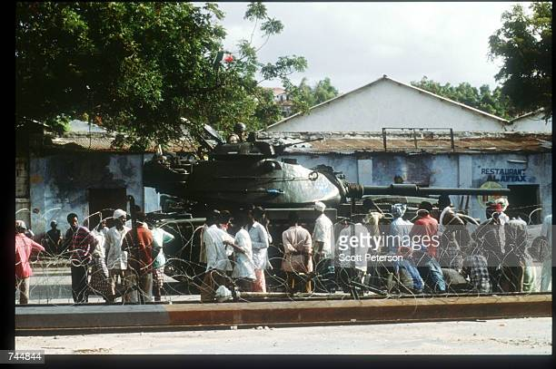 United Nations tank drives while on a peacekeeping mission June 20 1993 in Mogadishu Somalia An estimated 350000 Somalis died due to war famine and...