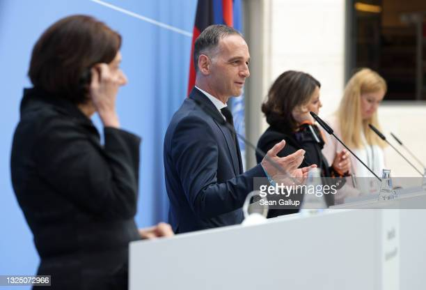 United Nations Under-Secretary General for Political Peacebuilding Affairs Rosemary DiCarlo , German Foreign Minister Heiko Maas and Libyan Foreign...