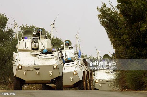 United Nations UNIFIL soldiers patrol the area in their armoured vehicles after 20 the shells were fired by the Israeli army into southern Lebanon...