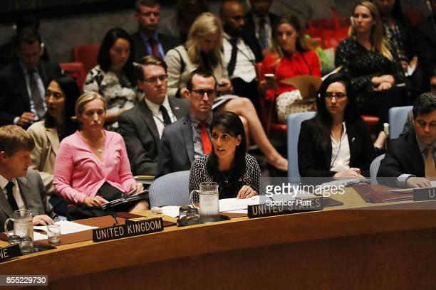 United Nations US Ambassador Nikki Haley addresses a UN Security Council meeting about the ongoing violence in Myanmar against Rohingya Muslims on...
