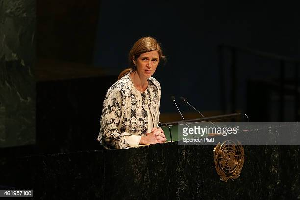 United Nations US Ambassador Samantha Power speaks at a UN General Assembly meeting devoted to antiSemitism on January 22 2015 in New York City The...