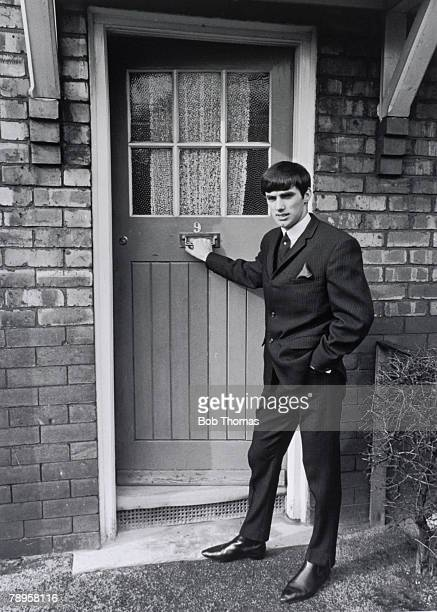 United & Northern Ireland footballer George Best stands outside the doorway of Mrs Mary Fullaway, his landlady at 9 Aycliffe Avenue,...