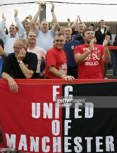 United of Manchester fans are pictured during the preseason friendly match between AFC Wimbledon and FC United of Manchester at The Fans' Stadium on...