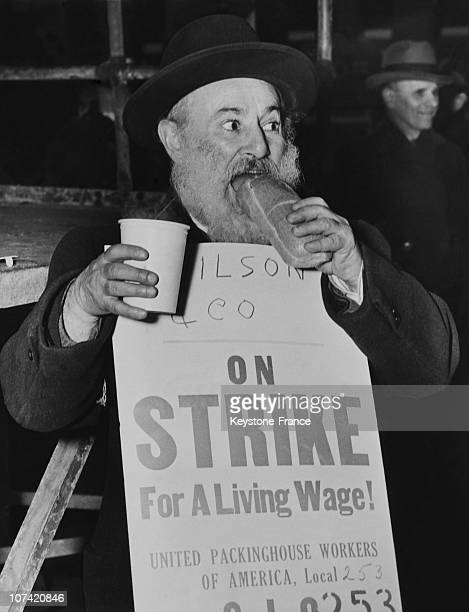 United Packinghouse Workers Of America On Strike Portrait Of Striker At New York In Usa On 1946