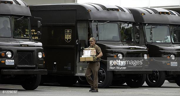 United Parcel Service driver at the end of his route is seen at the Seattle HUB on August 27 2004 United Parcel Service drivers and union leaders of...