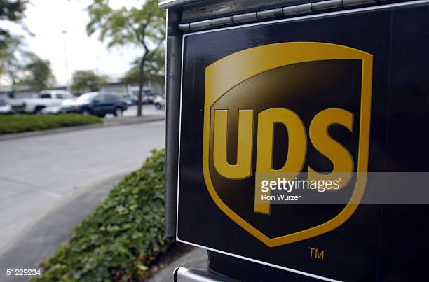 United Parcel Service drop box sits outside August 27 2004 in Seattle Washington United Parcel Service drivers and union leaders of Teamsters Local...
