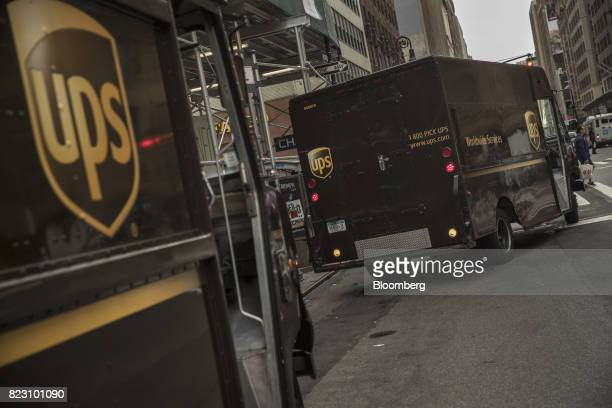 A United Parcel Service Inc delivery truck pulls out of a parking spot on a street in New York US on Monday July 24 2017 United Parcel Service Inc is...