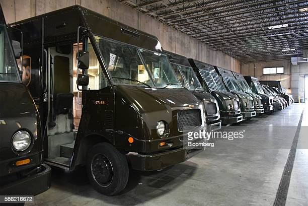 United Parcel Service Inc delivery trucks sit at the company's Latin America and Caribbean sorting facilities at Miami International Airport in Miami...