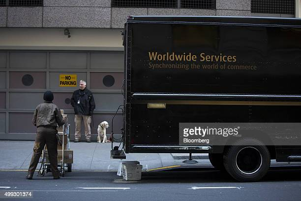 A United Parcel Service Inc driver delivers packages on Cyber Monday in New York US on Monday Nov 30 2015 Online sales on Cyber Monday may rise at...