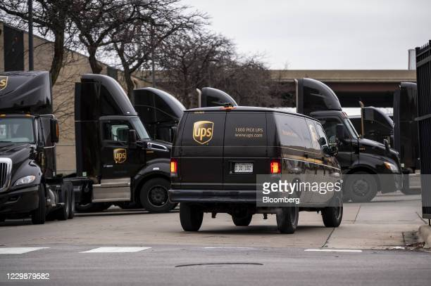United Parcel Service Inc. Van enters a distribution center in Chicago, Illinois, U.S., on Monday, Nov. 30, 2020. Online shoppers in the U.S. Are...