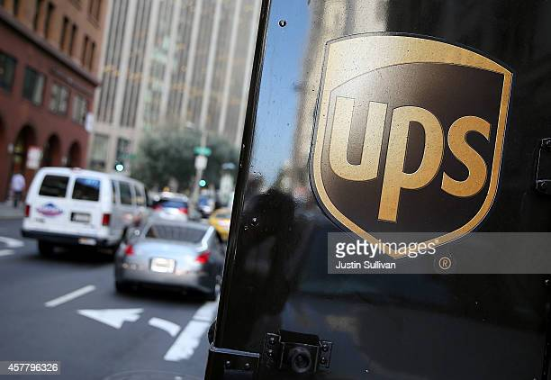 United Parcel Service logo is displayed on a delivery truck on October 24 2014 in San Francisco California United Parcel Service reported quarterly...