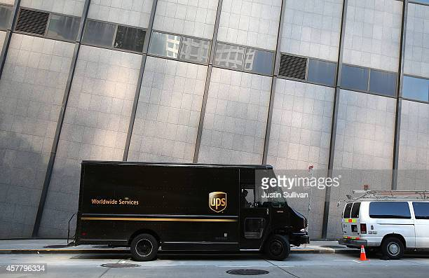 United Parcel Service truck sits parked in front of a building on October 24 2014 in San Francisco California United Parcel Service reported...