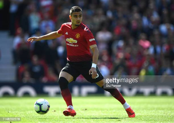 United player Andreas Pereira in action during the Premier League match between Manchester United and Cardiff City at Old Trafford on May 12 2019 in...