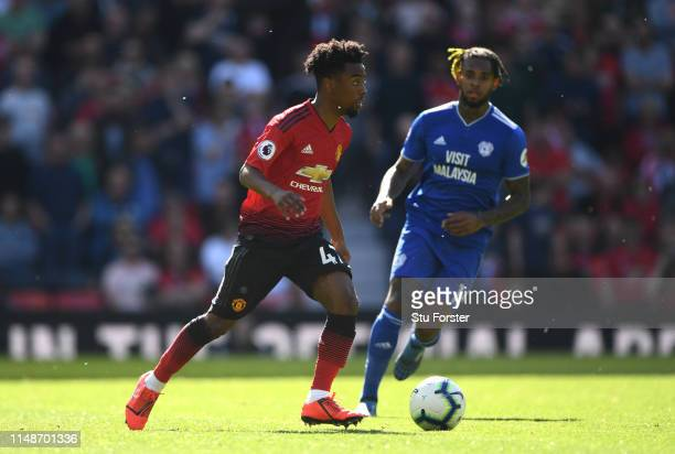 United player Angel Gomes in action during the Premier League match between Manchester United and Cardiff City at Old Trafford on May 12 2019 in...