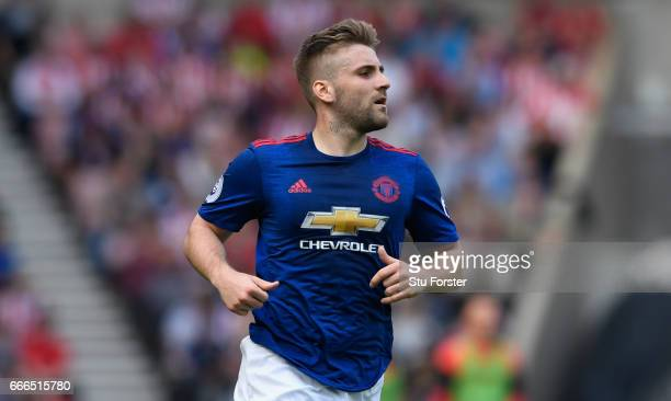 United player Luke Shaw in action during the Premier League match between Sunderland and Manchester United at Stadium of Light on April 9 2017 in...