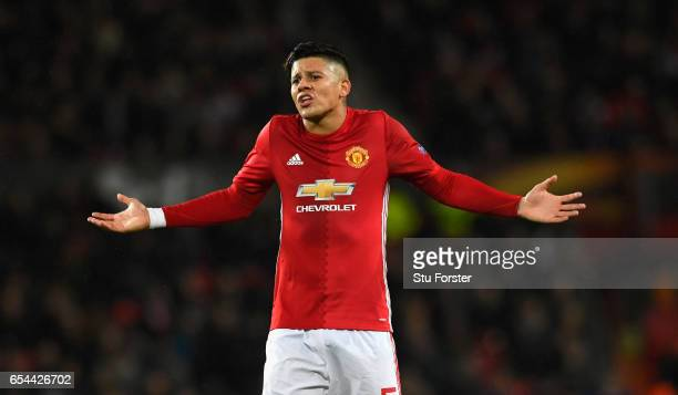 United player Marcos Rojo reacts during the UEFA Europa League Round of 16 second leg match between Manchester United and FK Rostov at Old Trafford...