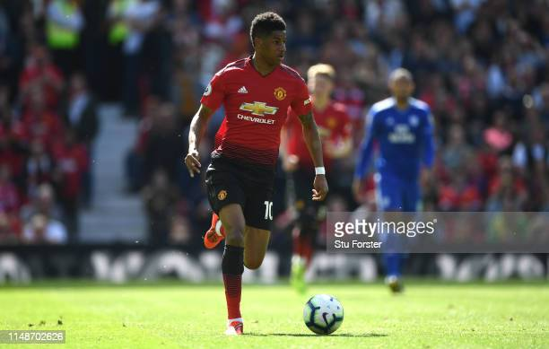 United player Marcus Rashford in action during the Premier League match between Manchester United and Cardiff City at Old Trafford on May 12 2019 in...