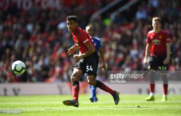 United player Mason Greenwood in action during the Premier League match between Manchester United and Cardiff City at Old Trafford on May 12 2019 in...