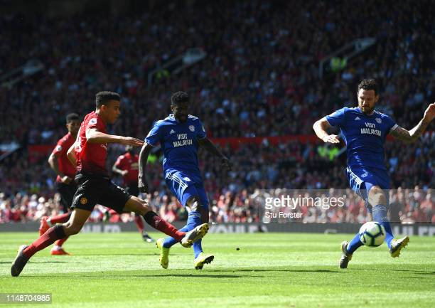 United player Mason Greenwood shoots at goal during the Premier League match between Manchester United and Cardiff City at Old Trafford on May 12...